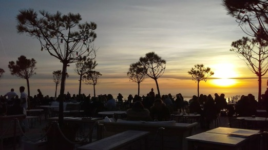 Sunset on the terrace of the Co(o)rniche Hotel, Pyla